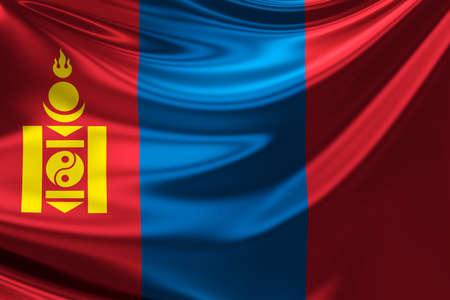 anthem: Flag of Mongolia. Stock Photo