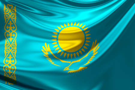 kazakhstan: Flag of Kazakhstan.