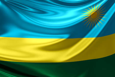 rwanda: Flag of Rwanda. Stock Photo
