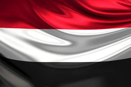 yemen: Flag of Yemen. Stock Photo