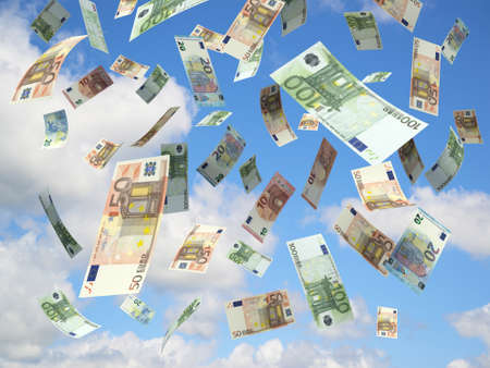 Euro banknotes falling on blue sky. 스톡 콘텐츠