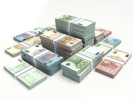 banknote euros. notes stacked on a white background