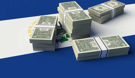 bandera de el salvador: Pila de dinero en la bandera de El Salvador. ilustración 3D Foto de archivo