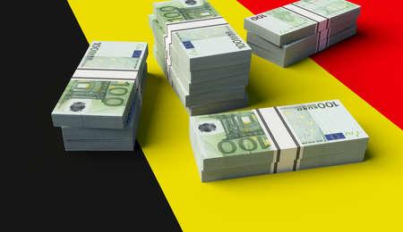 Stack of money on the Belgium Flag. 3D illustration