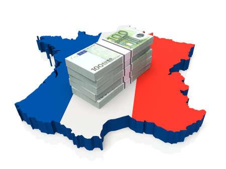 Stack of money on France Map. 3D illustration