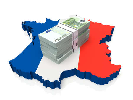 Stack of money on France Map. 3D illustration