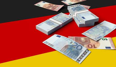 Stack of money on the German Flag. 3D illustration 스톡 콘텐츠