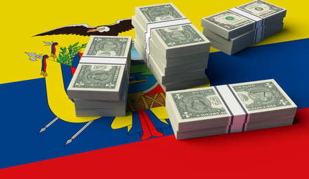 Stack of money on the Ecuador Flag. 3D illustration