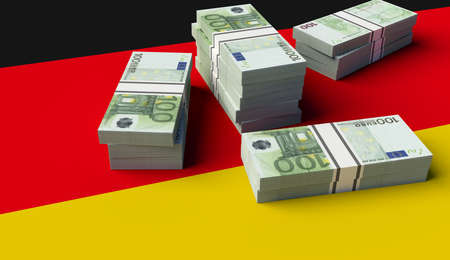 Stack of money on the German Flag. 3D illustration Фото со стока