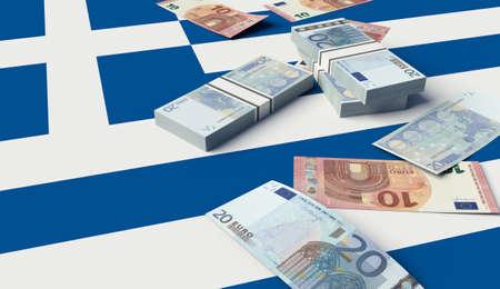 Stack of money on the Greek Flag. 3D illustration