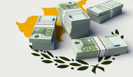 Stack of money on the Cyprus Flag. 3D illustration