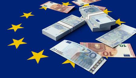 Stack of money on the European Union Flag. 3D illustration
