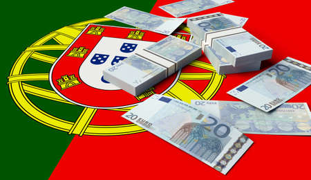 Stack of money on the Portuguese Flag. 3D illustration 스톡 콘텐츠