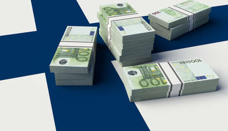Stack of money on the Finland Flag. 3D illustration
