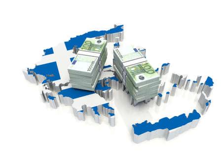 Stack of money on Greece Map. 3D illustration