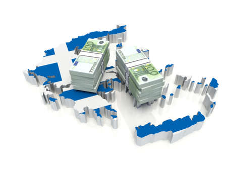 Stack of money on Greece Map. 3D illustration