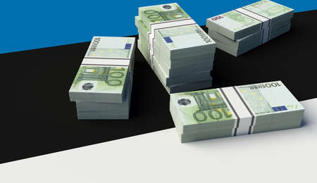 Stack of money on the Estonia Flag. 3D illustration Banco de Imagens