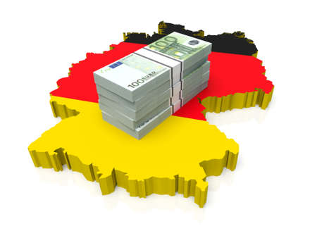 Stack of money on Germany Map. 3D illustration Stock Photo