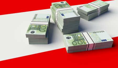 Stack of money on Austria Flag. 3D illustration