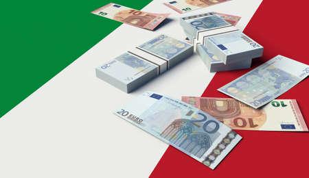 Stack of money on the Italian Flag. 3D illustration