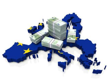 Stack of money on European Union Map. 3D illustration