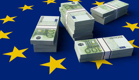 Stack of money on the European Union Flag. 3D illustration