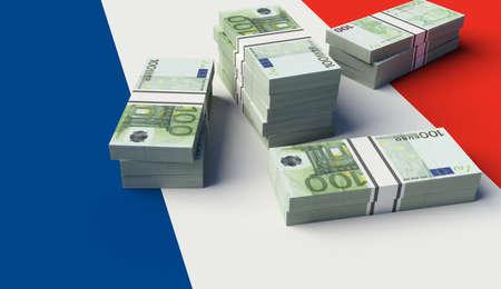 Stack of money on the France Flag. 3D illustration