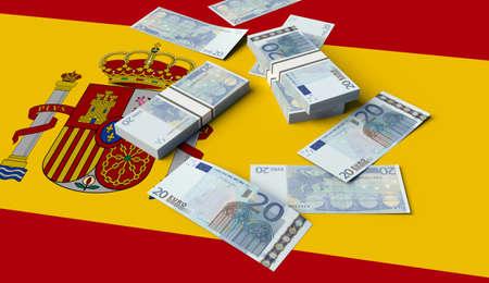 Stack of money on the Spanish Flag. 3D illustration