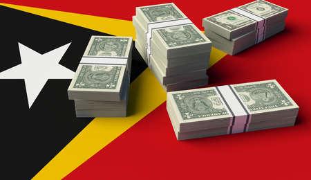 Stack of money on the Angola Flag. 3D illustration Banco de Imagens