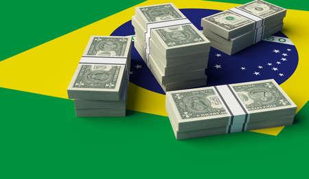 Stack of money on the Brazilian Flag. 3D illustration