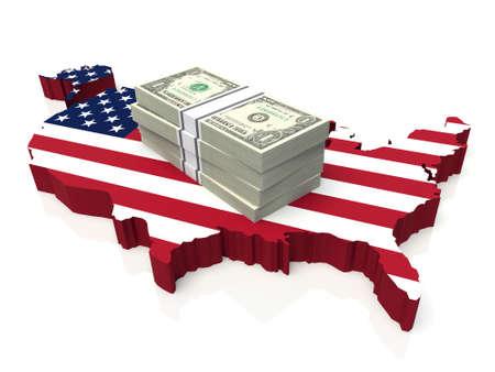Pila di soldi su Stati Uniti d'America Mappa. illustrazione 3D