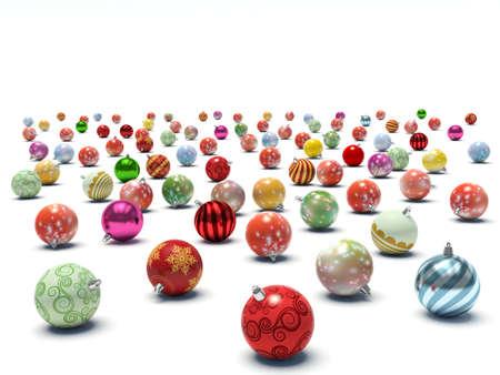 Christmas baubles. 3d render illustration