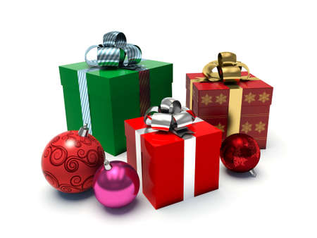 Christmas gift boxes and baubles. 3d render illustration