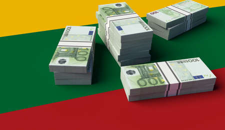 Stack of money on the Lithuania Flag. 3D illustration