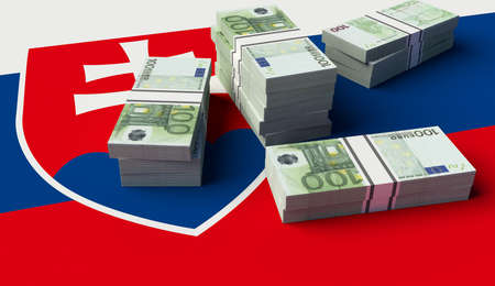 slovakia flag: Stack of money on the Slovakia Flag. 3D illustration