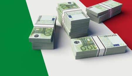 alliances: Stack of money on the Italian Flag. 3D illustration