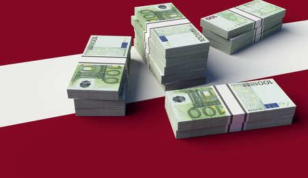 Stack of money on the Latvia Flag. 3D illustration Banco de Imagens