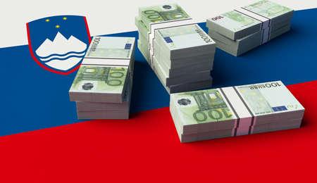 Stack of money on the Slovenia Flag. 3D illustration
