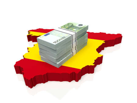Stack of money on Spain Map. 3D illustration Stock Photo
