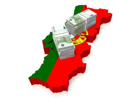 Stack of money on Portuguese Map. 3D illustration