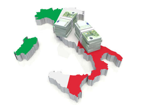 Stack of money on Italy Map. 3D illustration Banco de Imagens