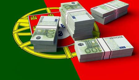 dept: Stack of money on the Portuguese Flag. 3D illustration Stock Photo