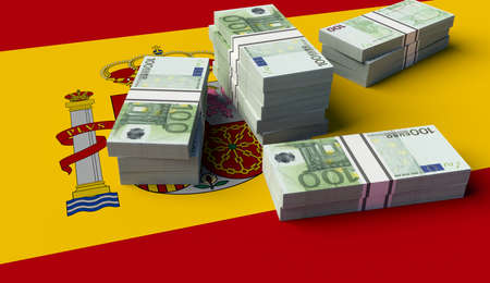 Stack of money on the Spanish Flag. 3D illustration Фото со стока
