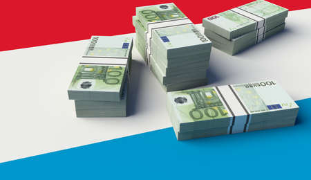 Stack of money on the Luxembourg Flag. 3D illustration