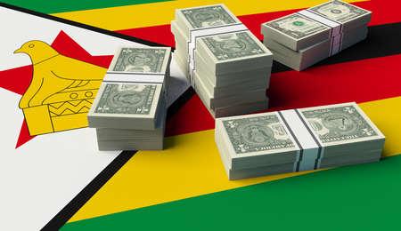Stack of money on the Zimbabwe Flag. 3D illustration