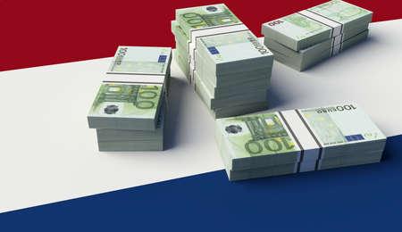 Stack of money on the Netherlands Flag. 3D illustration