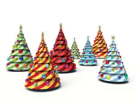 Christmas trees. 3d render illustration 스톡 콘텐츠