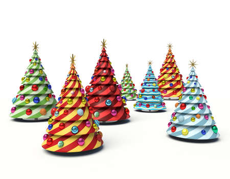 Christmas trees. 3d render illustration Фото со стока