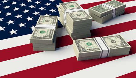 Stack of money on the USA Flag. 3D illustration