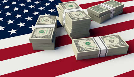 Stack of money on the USA Flag. 3D illustration